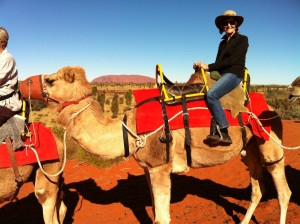 Christine on camel, Ayres Rock, 2012