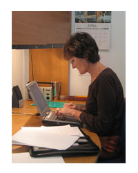 Christine Bryden working on her book about living with Alzheimers